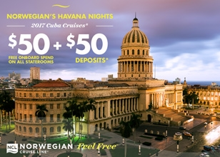 Set sail to Havana and Great Stirrup Cay on the Norwegian Sky. FREE OPEN BAR!