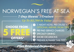 ALOHA! Check Hawaii off your bucket list with NCL's Free At Sea Hawaii promotion. Hurry! Offer expires March 5, 2017.