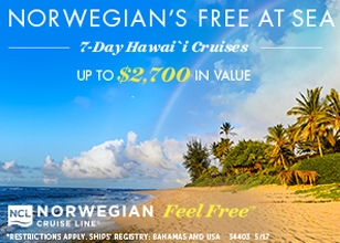 ALOHA! Book by June 5, 2017 for the latest Hawaii Free At Sea offer!