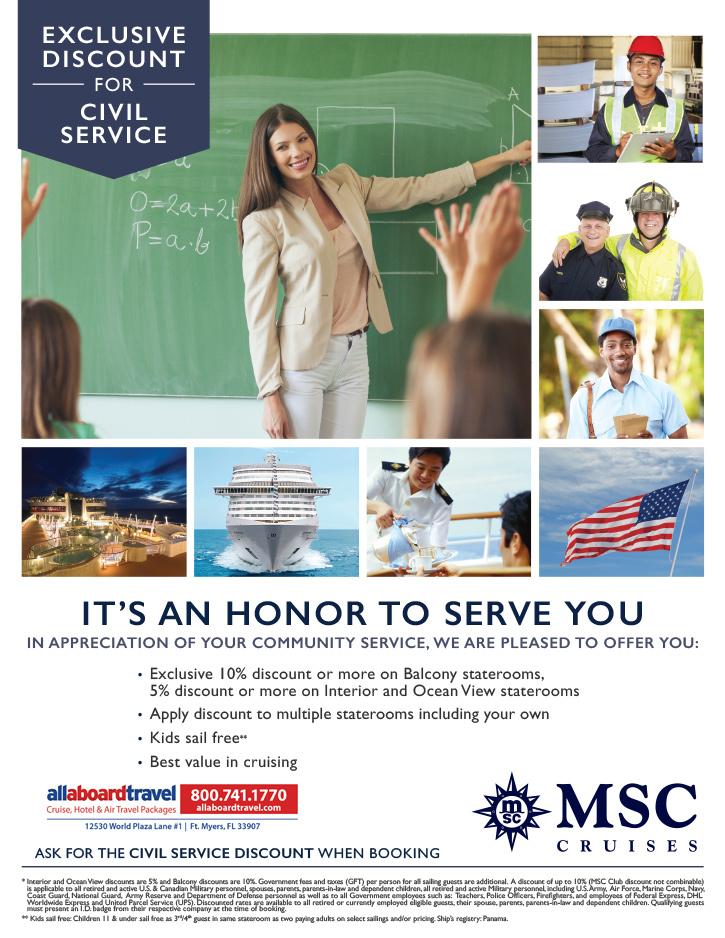 MSC Civil Service Discount